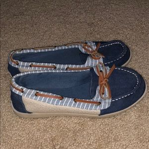 Navy and Tan Boat Shoes